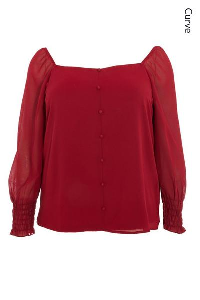 Curve Chiffon Berry Ruched Top